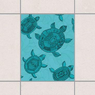 Adesivo per piastrelle - Polynesian sea turtles 30cm x 60cm
