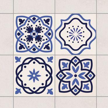 Adesivo per piastrelle - Set - 4 Portuguese tiles crème 10cm x 10cm