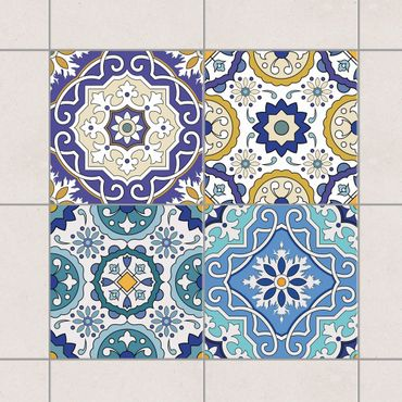 Adesivo per piastrelle - Set - 4 Spanish tiles ornaments 10cm x 10cm