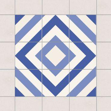 Adesivo per piastrelle - Set - Moroccan tiles check blue white 10cm x 10cm