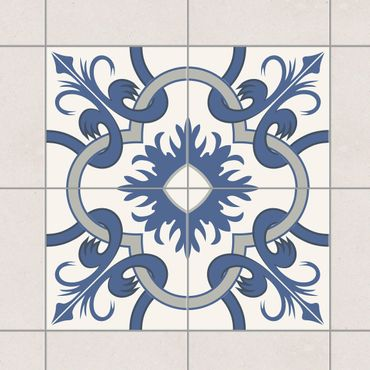 Adesivo per piastrelle - Set - Spanish tile panel - 4 tiles crème blue 10cm x 10cm