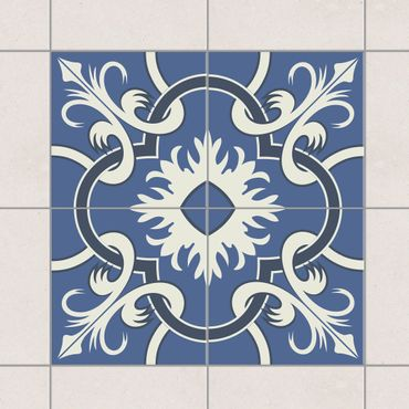 Adesivo per piastrelle - Set - Spanish tiled backsplash from 4 tiles blue 10cm x 10cm