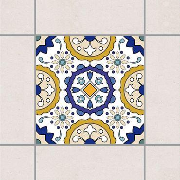 Adesivo per piastrelle - Spanish flower ornament 10cm x 10cm