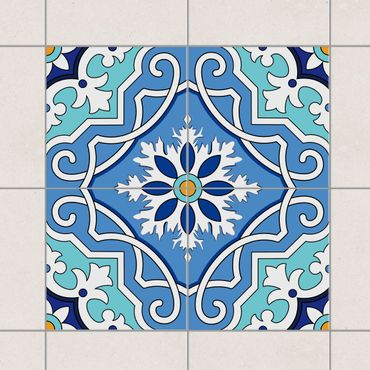 Adesivo per piastrelle - Set - Spanish tile pattern of 4 tiles turquoise 10cm x 10cm