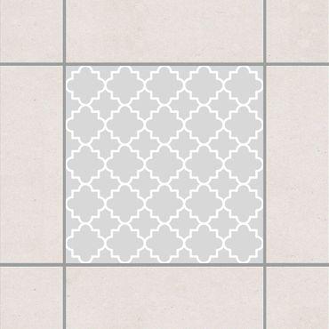 Adesivo per piastrelle - Traditional Quatrefoil Light Grey 10cm x 10cm