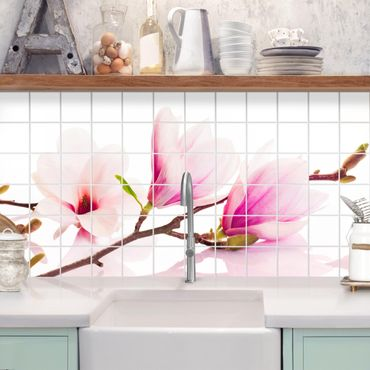 Adesivo per piastrelle - Delicate magnolia branch