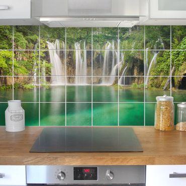 Adesivo per piastrelle - Waterfall Plitvice Lakes