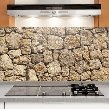 Adesivo per piastrelle - Old wall of paving stone Formato orizzontale