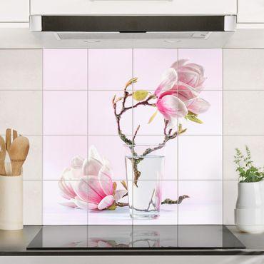 Adesivo per piastrelle - Magnolia in glass