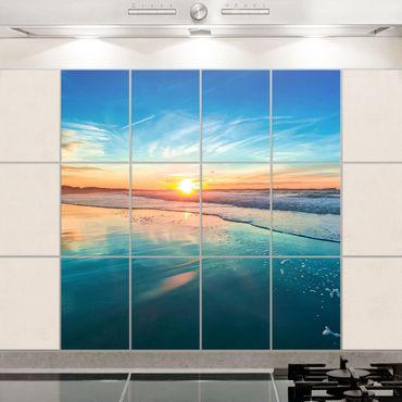 Adesivo per piastrelle - Romantic sunset by the sea Formato quadrato