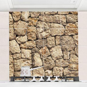 Adesivo per piastrelle - Old wall of paving stone Formato quadrato