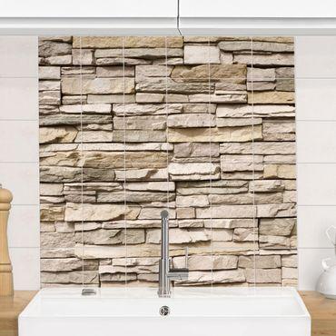 Adesivo per piastrelle - Asian Stonewall - stone wall from big bright stones