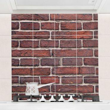 Adesivo per piastrelle - Brick wall red