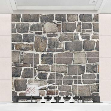 Adesivo per piastrelle - Crushed stone wallpaper stone wall Formato quadrato