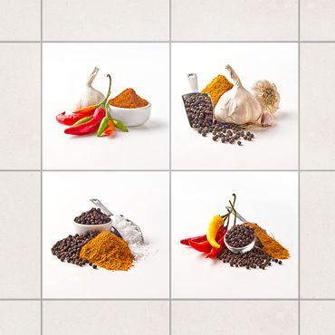 Adesivo per piastrelle - Chili garlic and spices - Sets 10cm x 10cm
