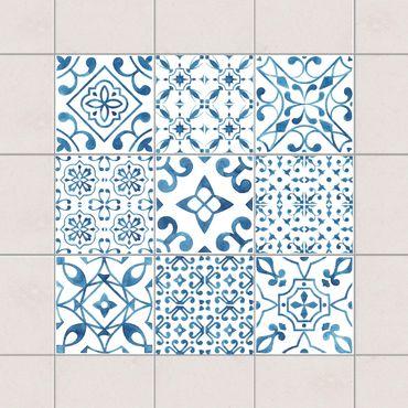 Adesivo per piastrelle - Blue White Pattern Mix 10cm x 10cm