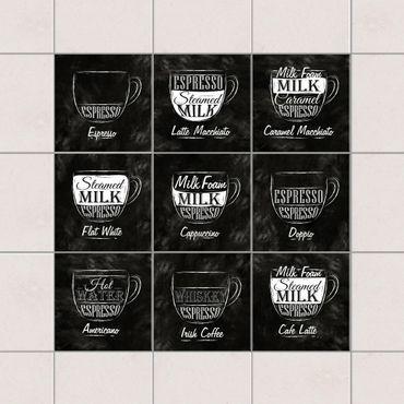 Adesivo per piastrelle - Coffees chalkboard 10cm x 10cm