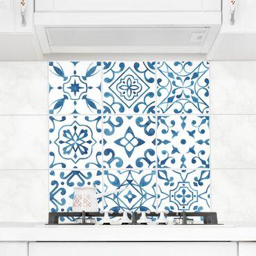 Adesivo per piastrelle - Pattern Blue White Set 10cm x 10cm