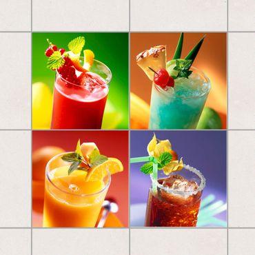 Adesivo per piastrelle - Colorful cocktails 10cm x 10cm