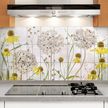 Adesivo per piastrelle - Allium And Helenium Illustration - Quadrato