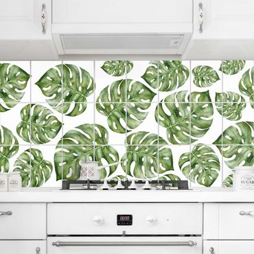 Adesivo per piastrelle - Watercolor Monstera Leaves - Orizzontale