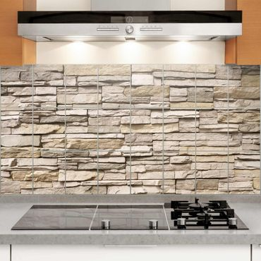 Adesivo per piastrelle - Asian Stonewall - Stone wall with big bright stones