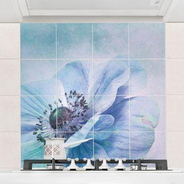 Adesivo per piastrelle - Blossom In Turquoise - Quadrato