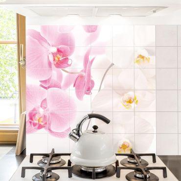 Adesivo per piastrelle - Delicate Orchids - Quadrato