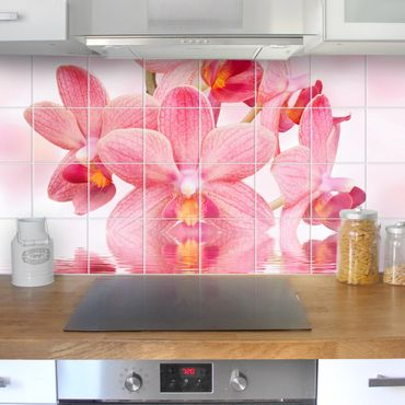 Adesivo per piastrelle - Pink orchids on water