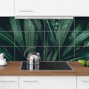 Adesivo per piastrelle - Green Palm Leaves - Orizzontale