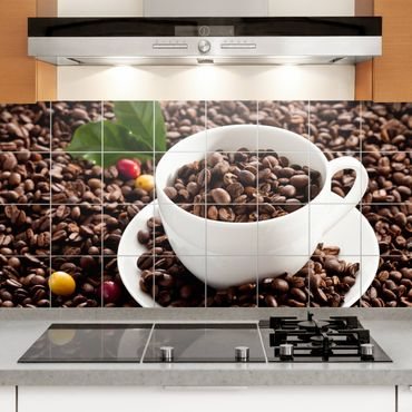 Adesivo per piastrelle - Coffee Cup With Roasted Coffee Beans - Orizzontale