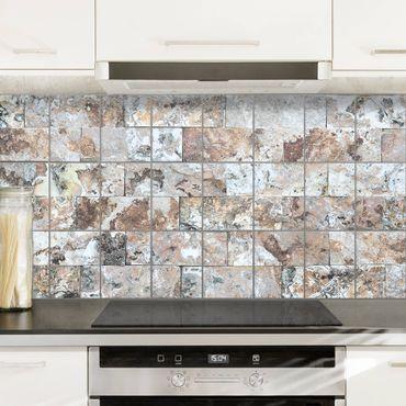 Adesivo per piastrelle - Natural Marble Stone Wall - Quadrato