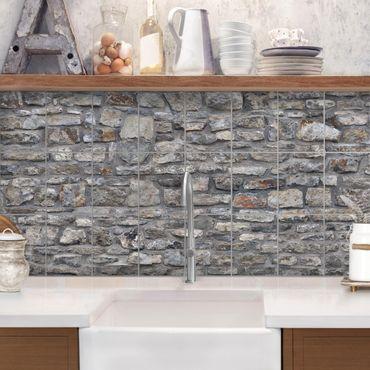Adesivo per piastrelle - Natural Stone Wallpaper Old Stone Wall - Orizzontale