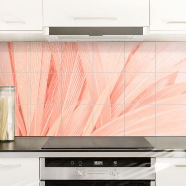 Adesivo per piastrelle - Palm Leaves Pink - Orizzontale