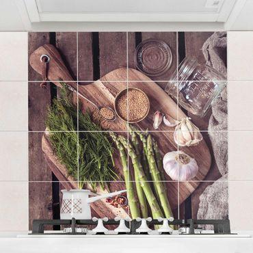 Adesivo per piastrelle - Asparagi - Quadrato