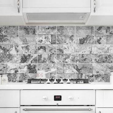 Adesivo per piastrelle - Stone Wall Natural Marble Gray - Orizzontale