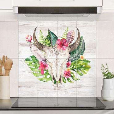 Adesivo per piastrelle - Tropical Flower Skull - Quadrato