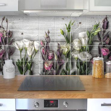 Adesivo per piastrelle - Tulip Pink Shabby wood optic