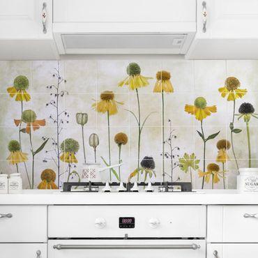 Adesivo per piastrelle - Delicate Helenium Flowers - Quadrato