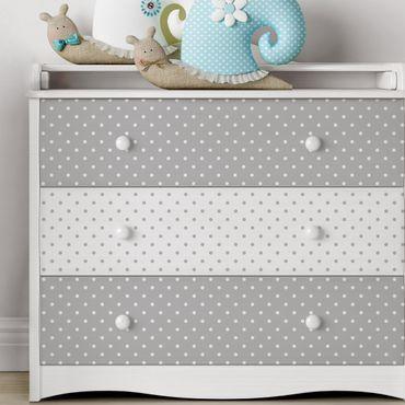 Carta Adesiva per Mobili - dot pattern set in grey and white