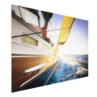 Quadro in forex - Sailboat on blue sea at sunshine - Orizzontale 3:2