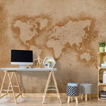 Carta da parati - Mappa del mondo antica in beige scuro