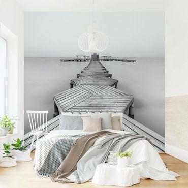 Carta da parati - Molo in legno bianco e nero