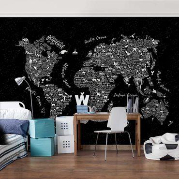 Carta da parati - Mappa tipografica su nero
