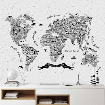 Carta da parati - Mappa tipografica su bianco
