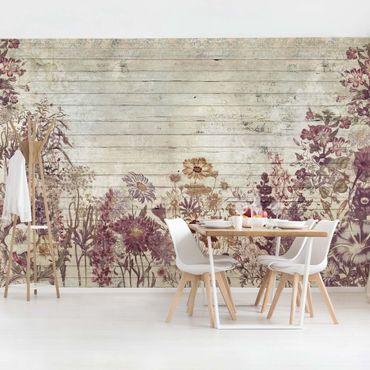 Carta da parati - Vintage Floral Wood Look