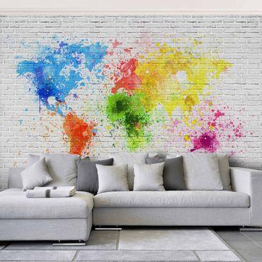 Carta da parati - Mondo spray su muro in mattoni
