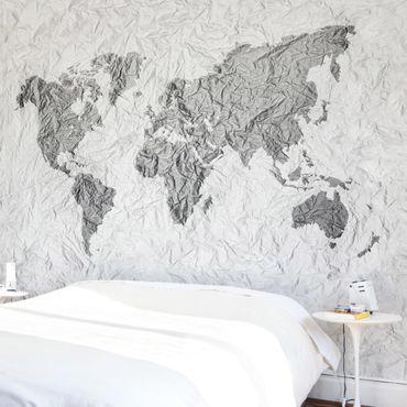 Carta da parati - Mappa del mondo effetto carta bianco grigio