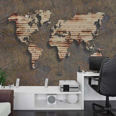 Carta da parati - Mappa del mondo metallo con ruggine
