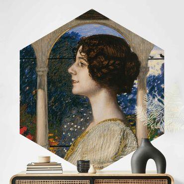 Carta da parati esagonale adesiva con disegni - Franz von Stuck - Ritratto femminile
